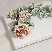 Для дома и интерьера handmade. Livemaster - original item Climbing rose - encaustic tiles/panels. Handmade.