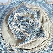 Аксессуары handmade. Livemaster - original item Shawl Blue asterisk Shawl beige linen viscose. Handmade.