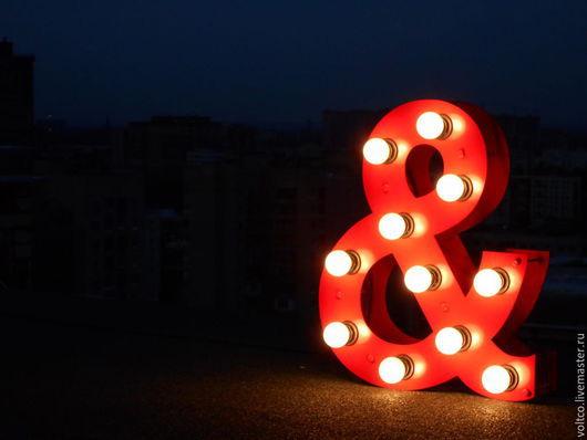 """Освещение ручной работы. Ярмарка Мастеров - ручная работа. Купить Светильник """"Амперсанд"""" (светящаяся буква).. Handmade. Ярко-красный, уют"""