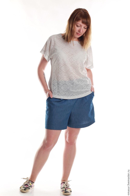 Шорты из облегченной джинсы