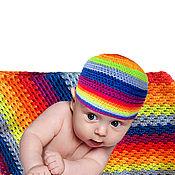 Работы для детей, ручной работы. Ярмарка Мастеров - ручная работа Плед для новорожденного детское одеяло  и шаплчка РАДУГА. Handmade.