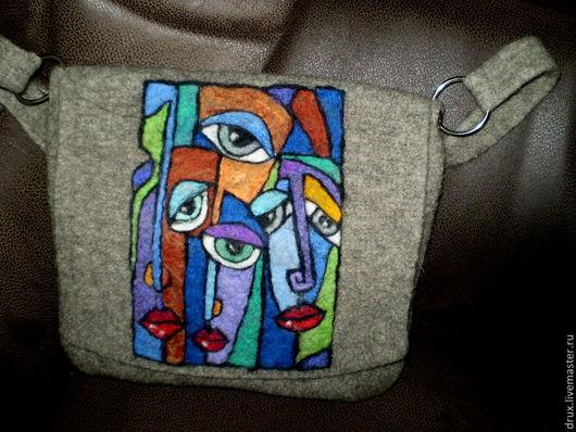 Женские сумки ручной работы. Ярмарка Мастеров - ручная работа. Купить валяная сумка. Handmade. Серый, сумка из войлока