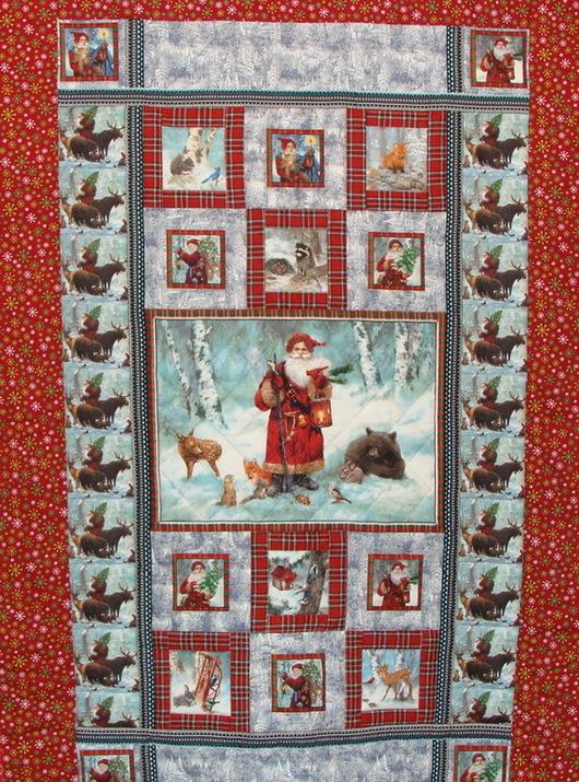 """Новый год 2017 ручной работы. Ярмарка Мастеров - ручная работа. Купить Новогоднее одеяло-покрывало """"Дед Мороз и лесные звери"""". Handmade."""