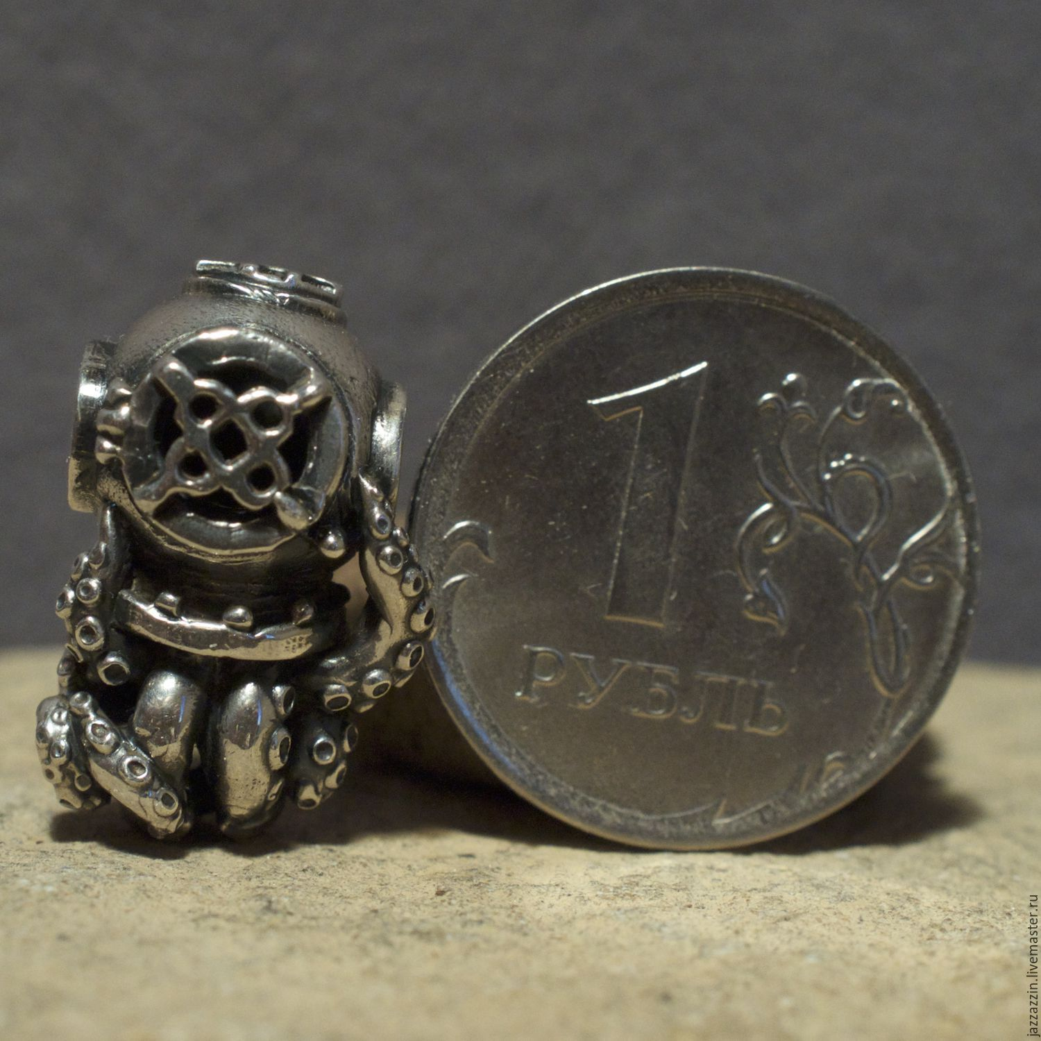 Octopus in a helmet charm shop online on livemaster with for Craft and jewelry supplies