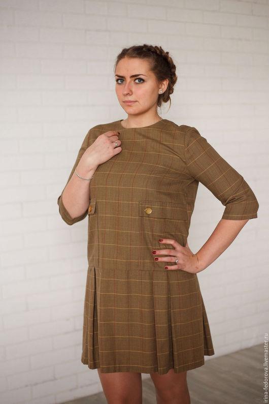 Платья ручной работы. Ярмарка Мастеров - ручная работа. Купить Платье в клетку П - 94. Handmade. Разноцветный, платье в складку