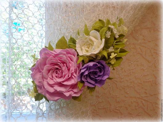 """Текстиль, ковры ручной работы. Ярмарка Мастеров - ручная работа. Купить Комплект  для штор из фоамирана """"Розовый сад"""". Handmade. Комбинированный"""