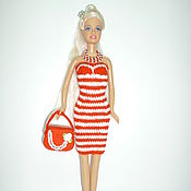 Куклы и игрушки ручной работы. Ярмарка Мастеров - ручная работа Одежда для Барби Вязаное платье для кукол Барби. Handmade.