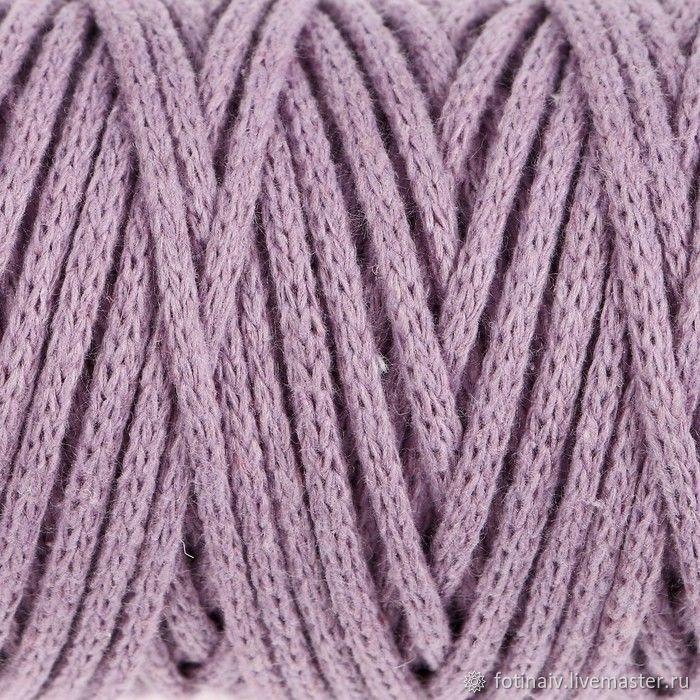 Cotton cord 4mm. lilac, Yarn, Petrozavodsk,  Фото №1