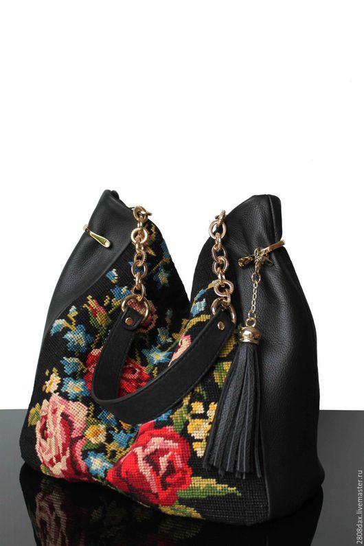 """Женские сумки ручной работы. Ярмарка Мастеров - ручная работа. Купить """"Vintage Rose"""" Черная кожаная сумка, сумка с вышивкой, арт-сумка. Handmade."""