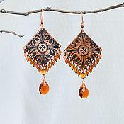 Украшения manualidades. Livemaster - hecho a mano Pendientes de cobre Con adornos Boho pendientes rombo rojo Naranja. Handmade.