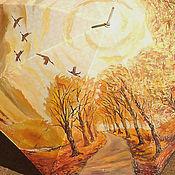 """Аксессуары ручной работы. Ярмарка Мастеров - ручная работа """"Моя прекрасная осень"""" авторская роспись на женском зонте-трости. Handmade."""