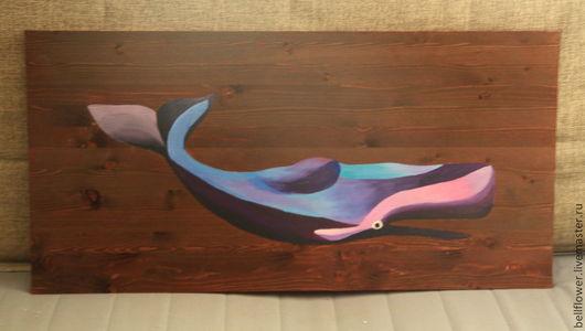 Животные ручной работы. Ярмарка Мастеров - ручная работа. Купить Деревянное панно Кашалот 2. Handmade. Разноцветный, кит, море