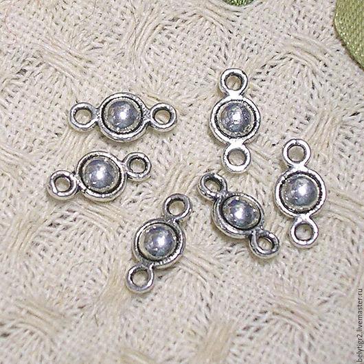 коннектор шарик, 10 х 5 мм, цинковый сплав, цвет серебро, 1 шт.