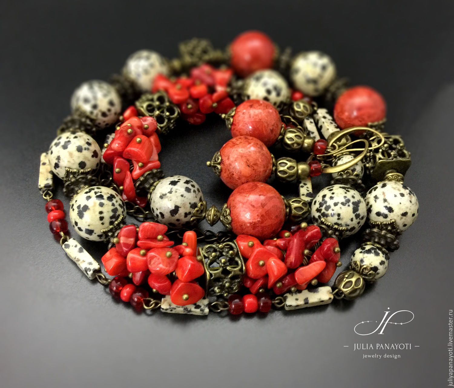 Set the 'Aglaia' of Jasper and coral, Jewelry Sets, Murmansk,  Фото №1