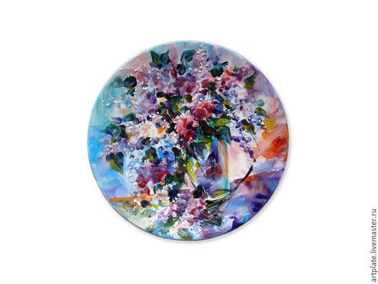 Керамическая тарелка `Сирень`. Керамика ручной работы. Ярмарка мастеров.
