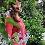 Одежда handmade. Livemaster - original item Women`s jacket knit button-down from kid - mohair Coral. Handmade.
