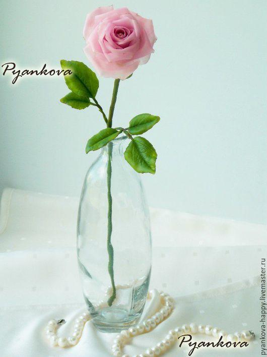 Цветы ручной работы. Ярмарка Мастеров - ручная работа. Купить Роза полноразмерная. Handmade. Бледно-розовый, роза ручной работы