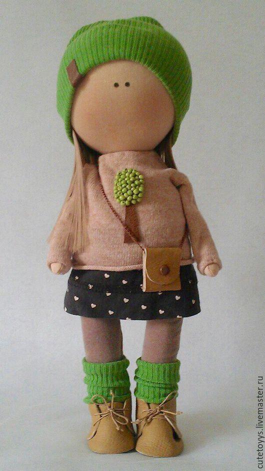 Куклы тыквоголовки ручной работы. Ярмарка Мастеров - ручная работа. Купить Интерьерная кукла. Handmade. Зеленый, в розовом платье