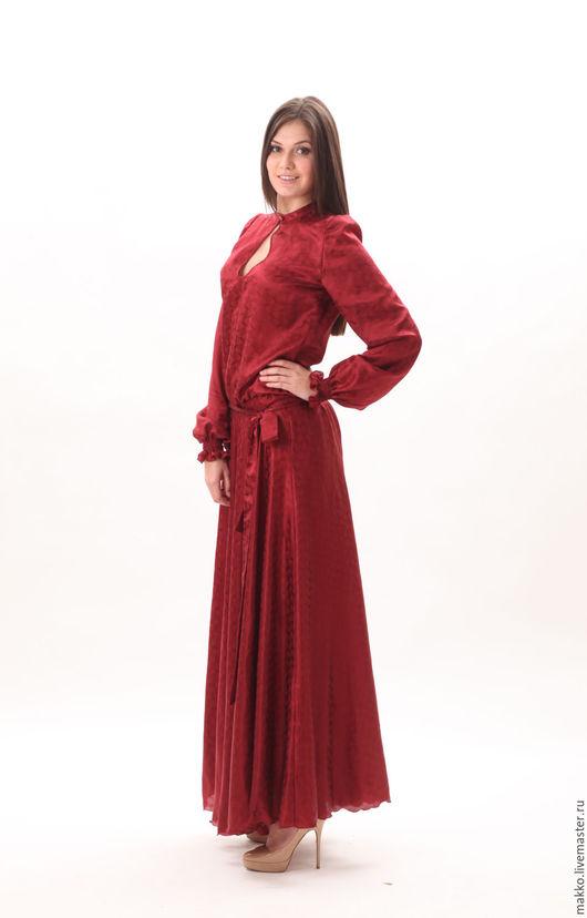 Платье `Бордо` макси шелк 88937