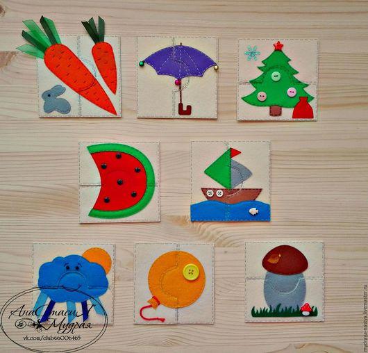 Развивающие игрушки ручной работы. Ярмарка Мастеров - ручная работа. Купить Сенсорные пазлы из фетра. Handmade. Комбинированный, учим цвета