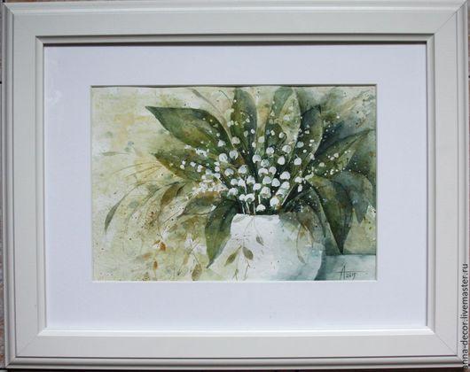 """Картины цветов ручной работы. Ярмарка Мастеров - ручная работа. Купить Картина """"Ландыши"""". Handmade. Акварель, цветы, картина для интерьера"""