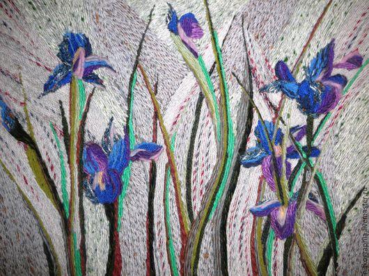 Картины цветов ручной работы. Ярмарка Мастеров - ручная работа. Купить Ирисы. Handmade. Разноцветный, ручная авторская работа
