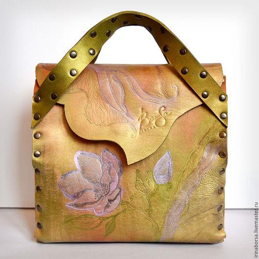 Женские сумки ручной работы. Ярмарка Мастеров - ручная работа. Купить Саквояж VESNA. Handmade. Комбинированный, сумка кожаная, кожа