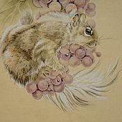 Картины и панно ручной работы. Ярмарка Мастеров - ручная работа картинаБелка с виноградом(китайская живопись животные пастельные тона). Handmade.