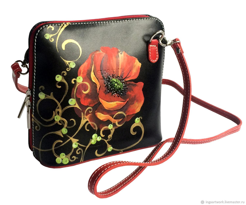 """Маленкая кожаная сумочка с росписью """" Королевский Мак"""", Classic Bag, Trakai,  Фото №1"""