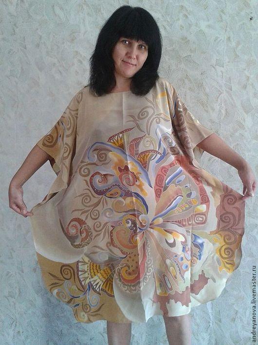 Пончо ручной работы. Ярмарка Мастеров - ручная работа. Купить батик платье-туника Жакко две расцветки. Handmade. Бежевый