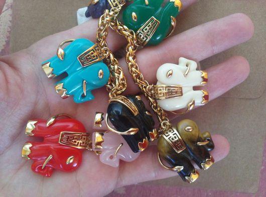 Винтажные украшения. Ярмарка Мастеров - ручная работа. Купить Винтажный браслет со слонами в китайском спиле. Handmade. Разноцветный