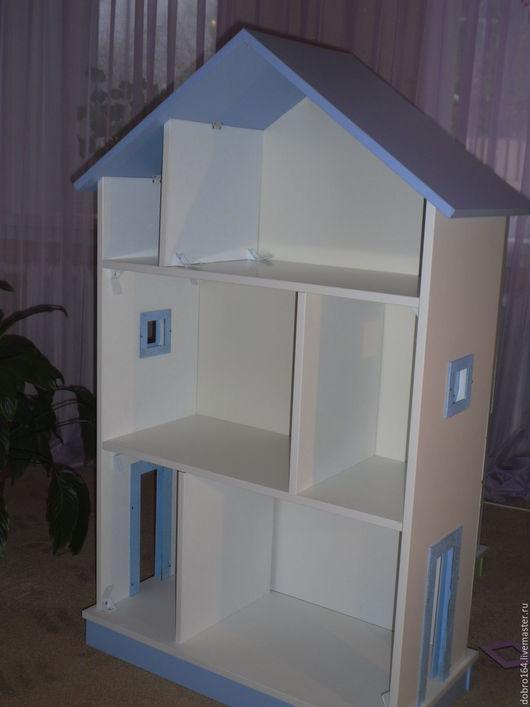 Кукольный дом ручной работы. Ярмарка Мастеров - ручная работа. Купить кукольный дом № 9 с окнами дверями голубой. Handmade.