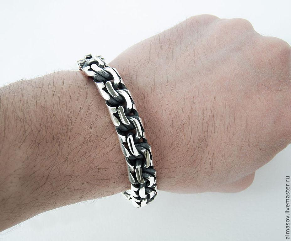 f40bc043e90b Массивный мужской серебряный браслет бисмарк шириной 13 мм – купить ...