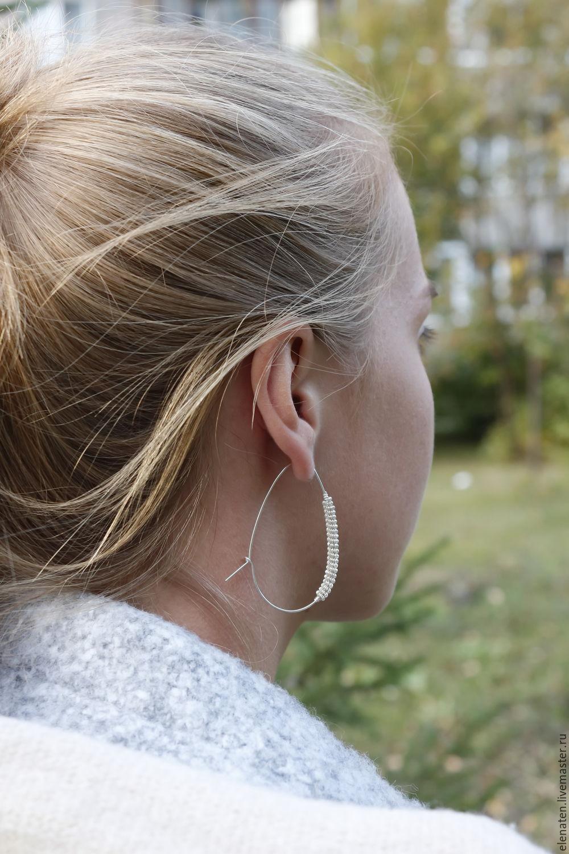 """Серебряные серьги - кольца """"Alba"""" , большие кольца, минимализм, Серьги, Новосибирск, Фото №1"""
