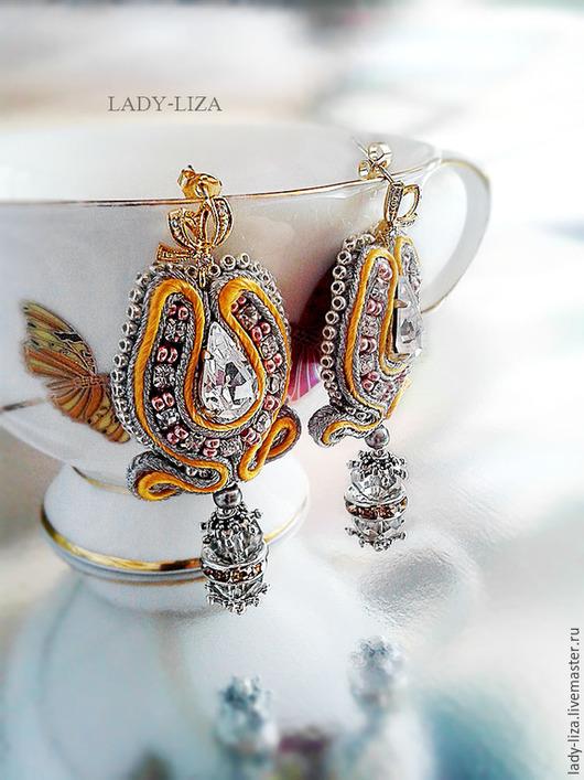 Сутажные свадебные серьги Чайная капель
