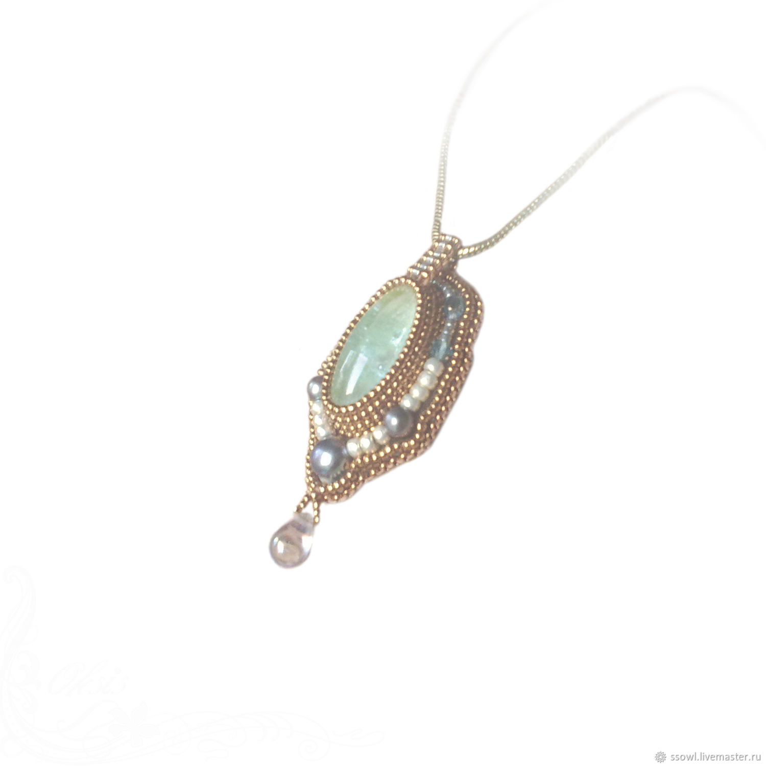 Small pendant pendant Classic natures. aquamarine, pearl, gold, silver beads, office decoration, for every day, small light blue green pendant drop pendant, minimalist, strict