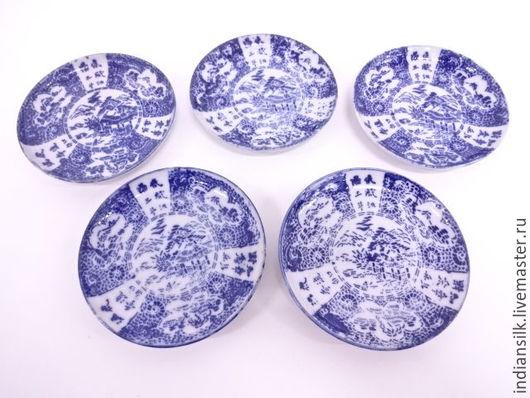 Винтажные предметы интерьера. Ярмарка Мастеров - ручная работа. Купить Антикварная японская керамика-блюдечки 5 штук. Handmade. Комбинированный