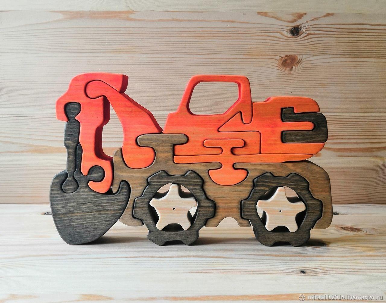 Развивающие игрушки ручной работы. Ярмарка Мастеров - ручная работа. Купить Пазл Экскаватор. Handmade. Подарок, подарок ребенку, натуральный
