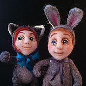 """Куклы и игрушки ручной работы. Ярмарка Мастеров - ручная работа """"Киська"""" и """"Зайка"""". Handmade."""