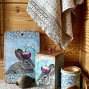 """Для дома и интерьера ручной работы. Ярмарка Мастеров - ручная работа Кухонный набор"""" Кролик , хранитель репы"""". Handmade."""