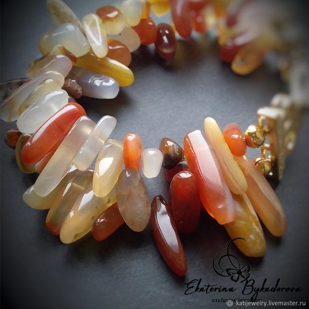 A bracelet made of beads: Carnelian placer, Bead bracelet, Rostov-on-Don,  Фото №1