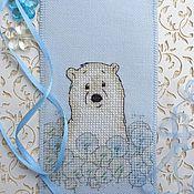 Канцелярские товары ручной работы. Ярмарка Мастеров - ручная работа Закладка для книги Белый медвежонок с вышивкой из ткани. Handmade.
