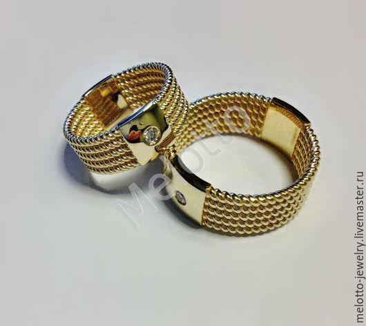 Свадебные украшения ручной работы. Ярмарка Мастеров - ручная работа. Купить Необычные кольца из золота с бриллиантами. Handmade. Золотой