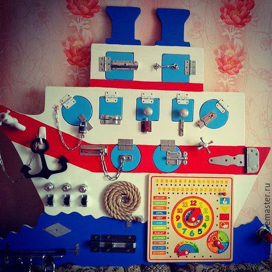 Развивающие игрушки ручной работы. Ярмарка Мастеров - ручная работа. Купить Бизиборд - кораблик. Handmade. Комбинированный, бизиборды