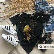 Одежда handmade. Livemaster - original item Golden Girl Patterned T-shirt - TEE10252CT. Handmade.