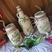 """Для дома и интерьера ручной работы. Ярмарка Мастеров - ручная работа """"Прованские травы""""банки для хранения и бутылки под масло. Handmade."""