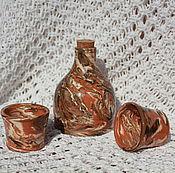 Посуда ручной работы. Ярмарка Мастеров - ручная работа Бутылка и рюмки Мрамор керамика. Handmade.