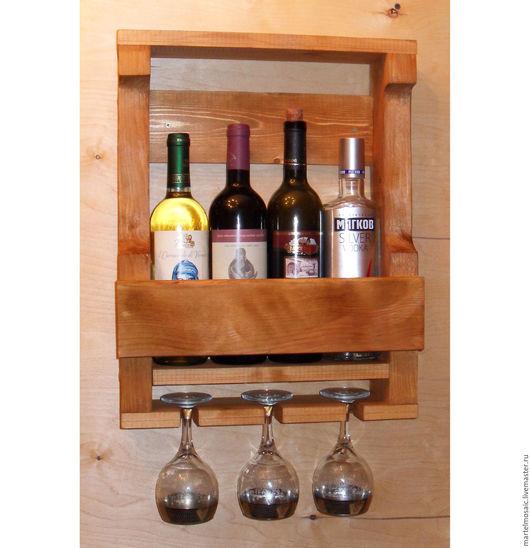 Мебель ручной работы. Ярмарка Мастеров - ручная работа. Купить Полка для вина и бокалов (4 бутылки / 3 бокала). Handmade.