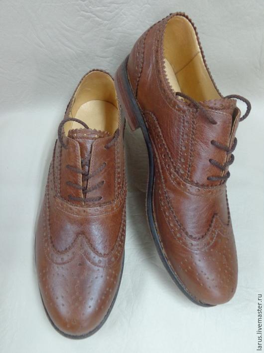 """Обувь ручной работы. Ярмарка Мастеров - ручная работа. Купить Мужские ботинки """"оксфорды"""". Handmade. Коричневый"""