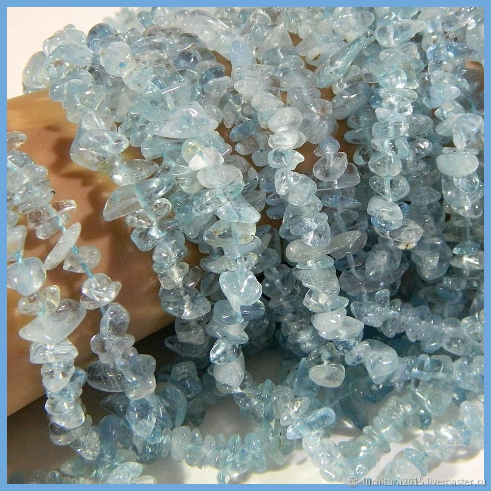 Aquamarine transparent blue Brazil, 40 cm. Thread, Beads1, Saratov,  Фото №1